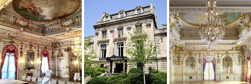 Three photos of the Cosmos Club: two of the interior and one of the exterior